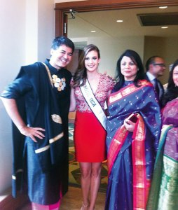 Parmesh Shahani with Miss USA 2013 Erin Brady and the Miss India Connecticut organizer Anita Bhat