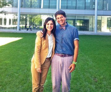 Parmesh Shahani with Shereen Bhan on the Yale campus