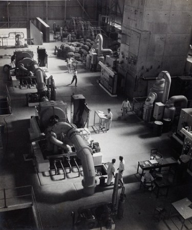 Power station interior at the Damodar Valley Corporation construction, newly built site, late 1940s
