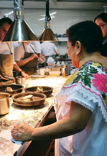 Doña Eneida from Chablé Resort cooking at Quintonil
