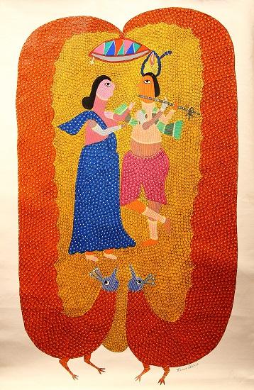 Radha Krishna, Gond Art