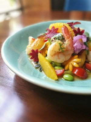 Raw papaya and prawn salad