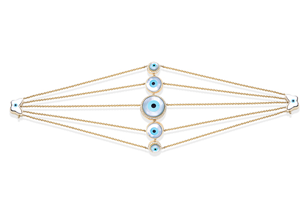 Evil eye cuff with butterfly clasp set in white gold from Renu Oberoi Fine Jewellery.
