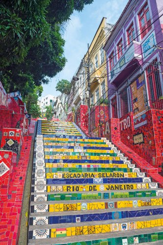 The famous Selarón steps created by jorge Selarón with colourful tiles
