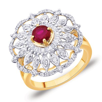 Ruby studded diamond ring, in 18-carat gold