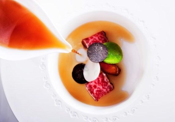 Saga wagyu beef, black truffle, daikon garlic chive noddle, truffled beef tendon, aromatic consomme