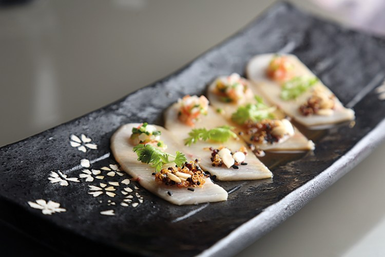 Sake salmon sashimi ginger ponzu, crispy quinoa