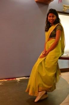 Saumya Sinha wore her sari with white sneakers