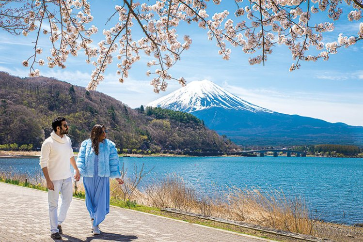 Munjal and Taneja at Mt. Fuji, Japan, during cherry blossom season