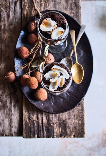 Layered chocolate dessert with lychees