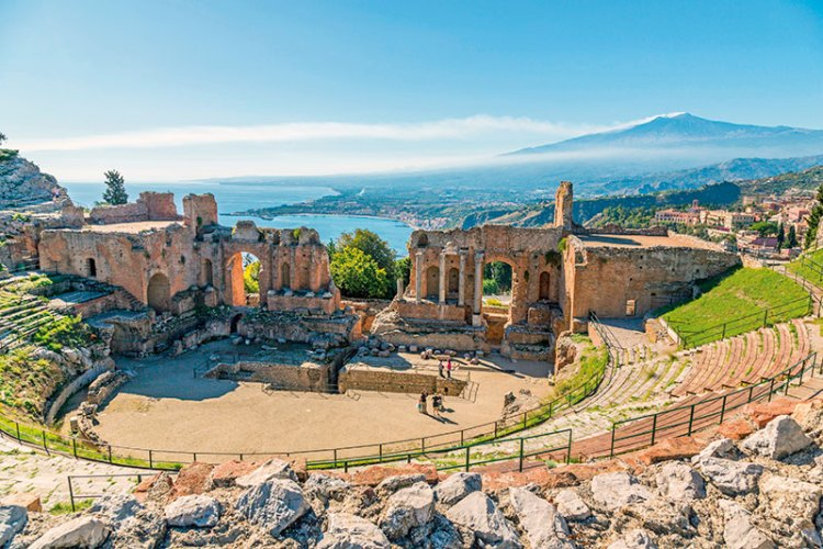 The Greek theatre overlooking Mount Etna