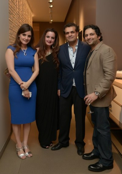 Simone and Ajay Arora with Laila and Farhan Furniturewala