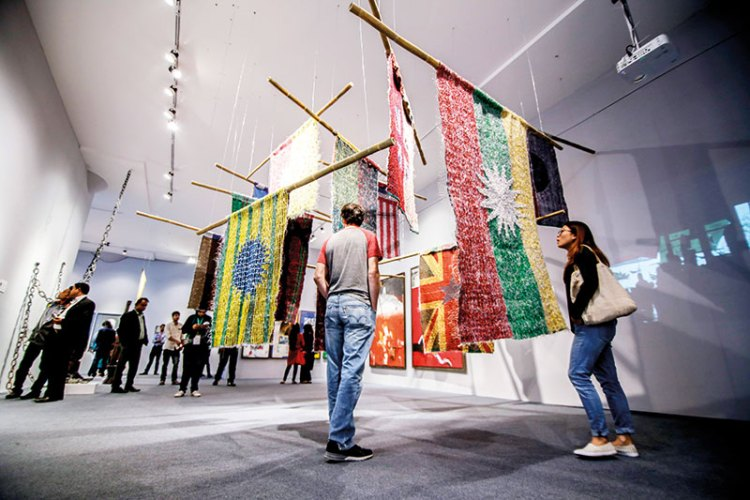 Installation view of Jakkai Siributr, the Outlaw's Flag (2017), Bearing Point 4, curated by Diana Campbell Betancourt, Dhaka Art Summit 2018.