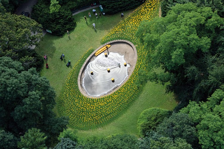 A public art installation with 7,000 pinwheels in Prospect Park