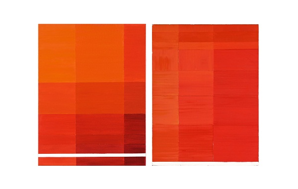 Value study in red by Tanya Goel for Level, Galerie Mirchandani, Mumbai
