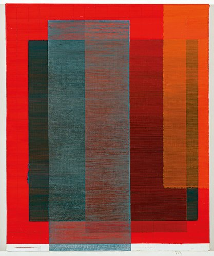 Tanya goel, Intersection (red, blue, orange) II, 2017, Oil on canvas, 56 cm x 46 cm / 22 in x 18 in