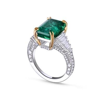 The La Sacla Ring by House of Meraki set with Gemfields Zambian Emeralds