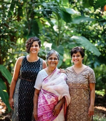 Sneha Mahashabde and Anuja Phadke with their grandmother