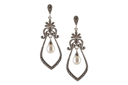 Tribe by Amrapali Silver Marcasite Mughal style hanging pearl drop earrings