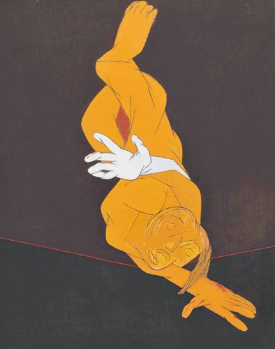 Tyeb Mehta, Untitled (Falling Figure), 1991, 45 1/8 x 36 in, estimate 1,500,000 – 2,000,000 dollars
