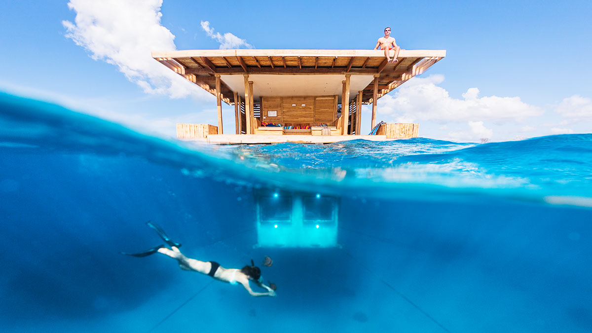 Underwater Room. The Manta Resort, Pemba, Zanzibar Archipelago travel, crazy hotels of the world, adventure, luxury