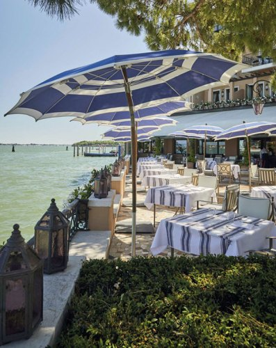 Signature striped umbrellas at Giudecca 10