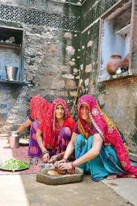 Village women preparing lunch