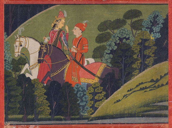 Baz Bahadur And Rupmati Riding At Night, Nurpur, Circa 1765