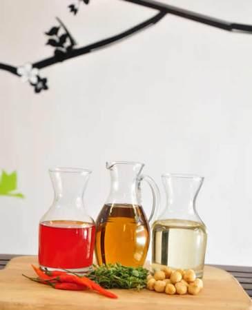 Chilli oil, oregano oil and hazelnut oil