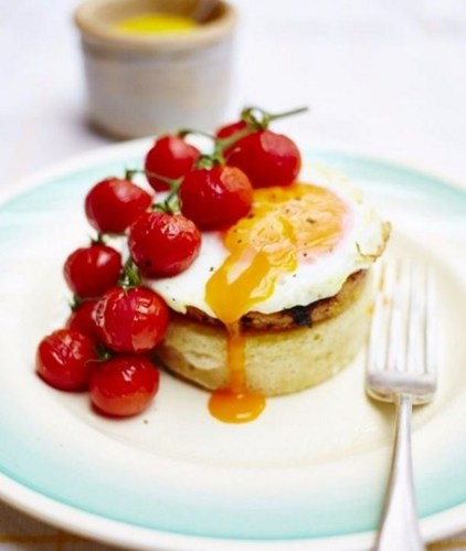 Potato crumpets with maple mustard gammon