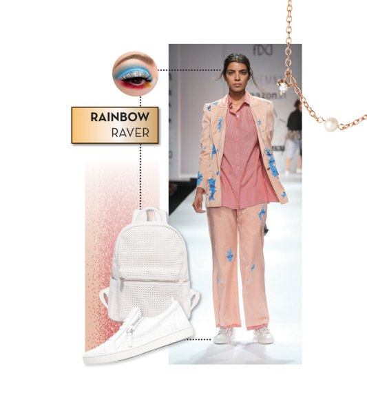 Runway look: Huemn; Sneakers by GZ; Backpack by Urban Originals; Choker by Catbird; Eye make up by Pat McGrath,
