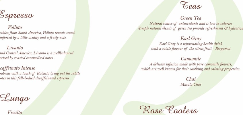 The House of Rose beverage menu