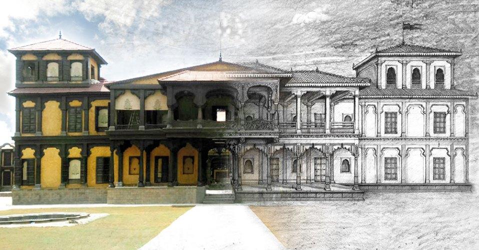 Sketch of Shaniwarwada for Bajirao Mastani