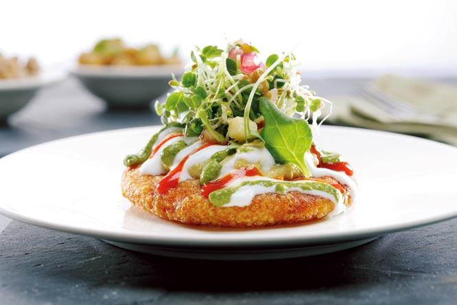 Pinenut pattice, ragda humus, feta salad