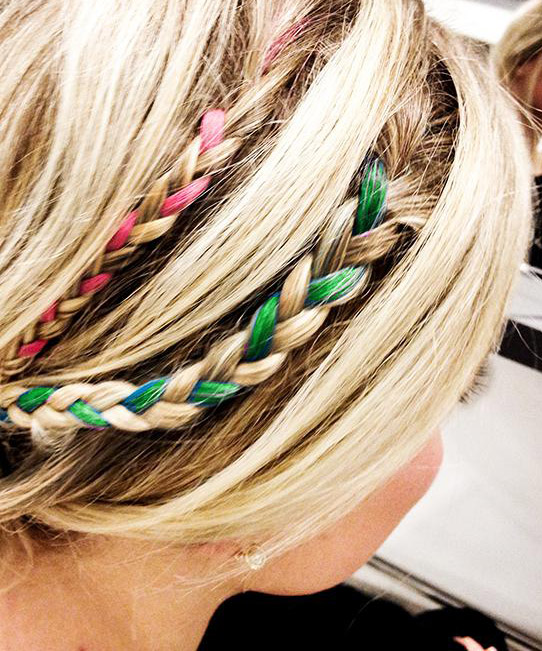 Hair Chalk: Colour each strand, tie them into little braids and go Greek