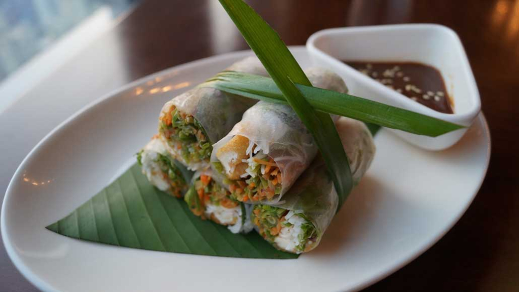 Vietnamese-seasonal-vegetable-spring-roll-with-tofu-seasonal-greens-and-hoisin-sauce
