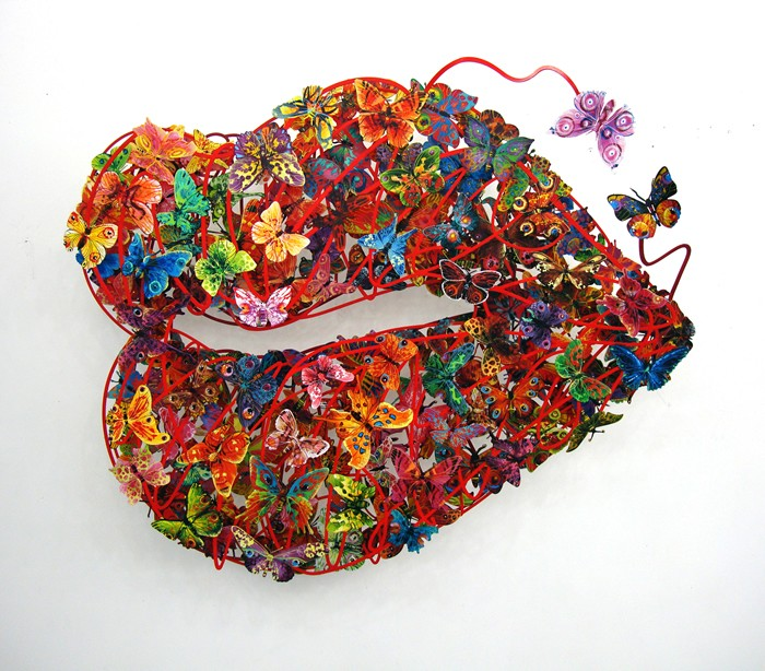 Burning Lips, 3 Layers wall sculpture, edition of 150 by David Gerstein