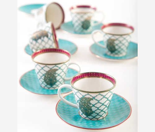 Fine China Serai cup and saucer set from Good Earth