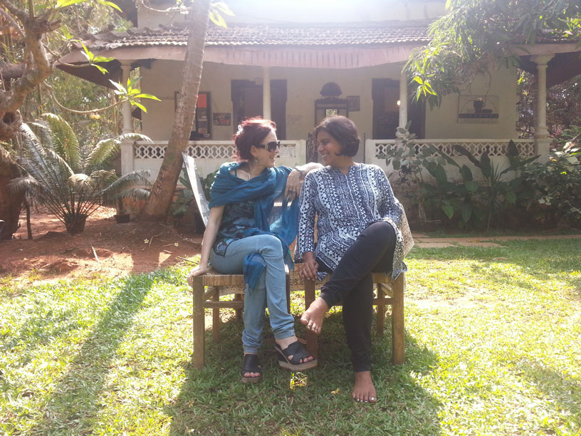 Margaret Mascarenhas and Divya Kapur pose for me at Literati in Goa