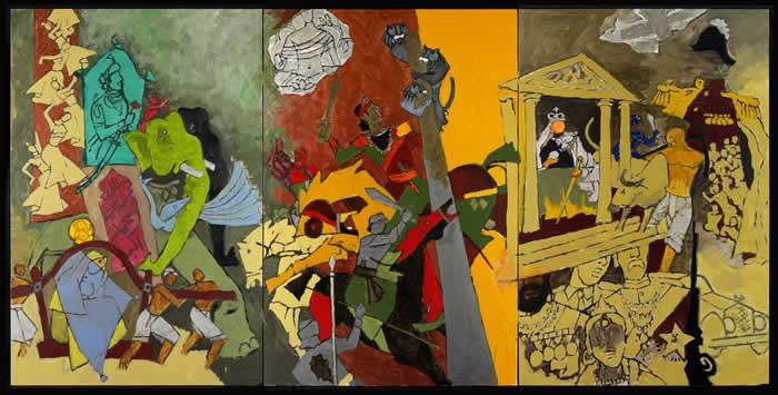 M.F._Husain_Three_Dynasties_2008-2011._Courtesy_of_Mrs_Usha_Mittal__Victoria_and_Albert_Museum_London