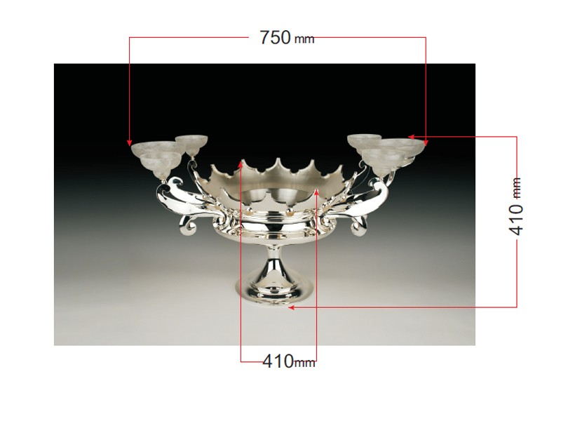Sterling silver centerpiece with rock crystal nut bowls