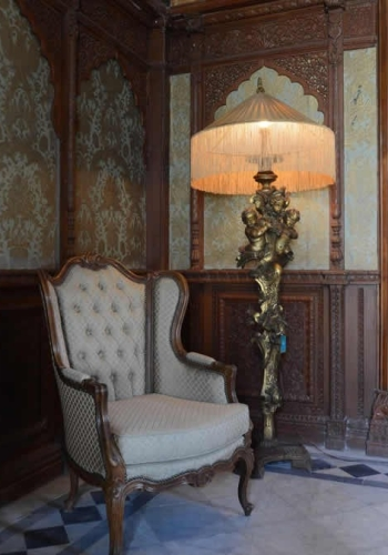 The Grand Trunk Show, Taj Khazana: A French chair and an Italian floor lamp