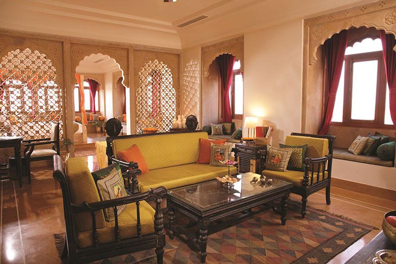 Suryagarh's regal lobby, Jaisalmer