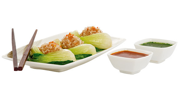Steamed chicken dim sum with red rice and bok choy