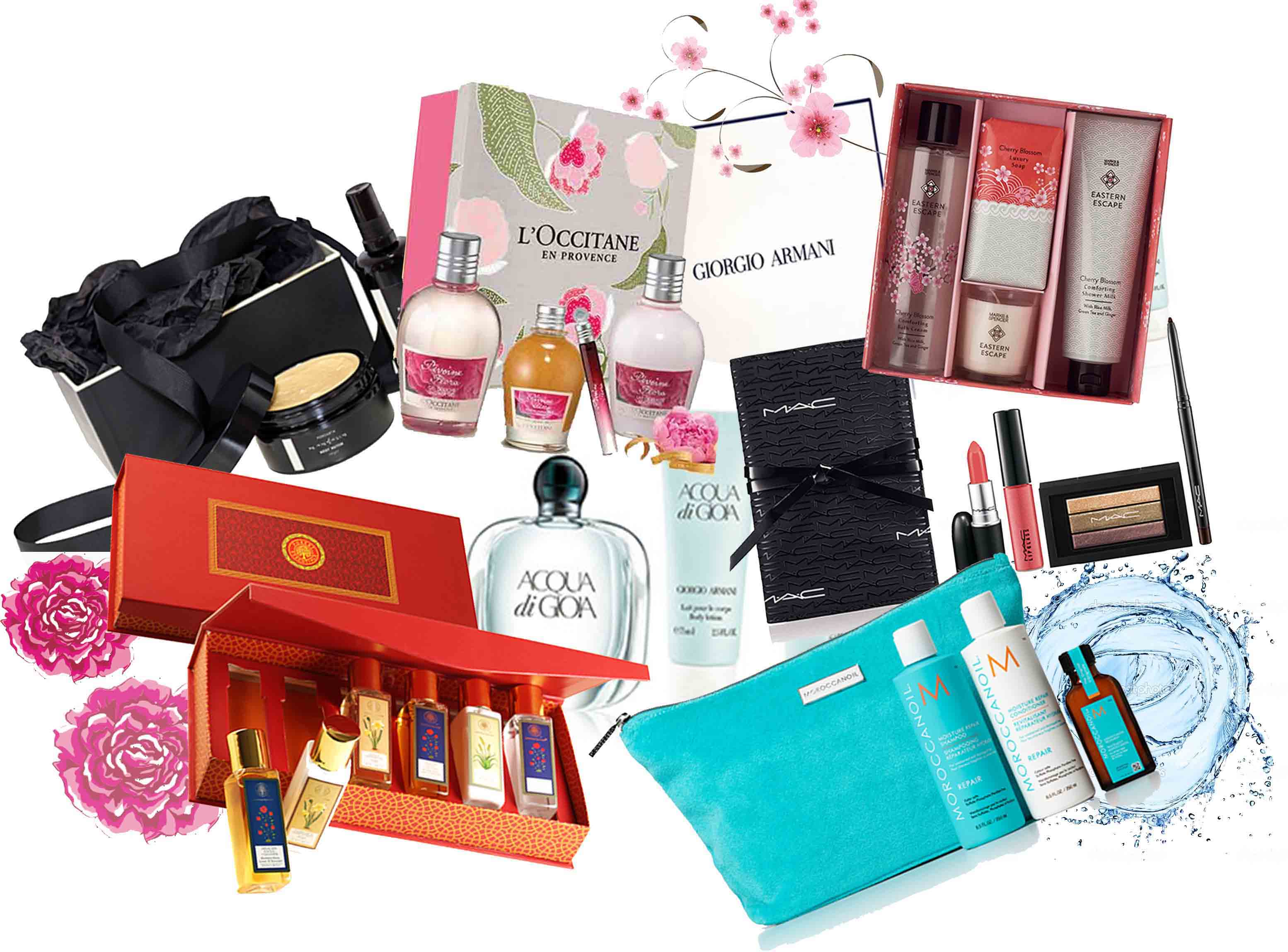 beauty festive hampers loccitane mac forest essentials giorgio armani diwali moroccanoil marks and spencer
