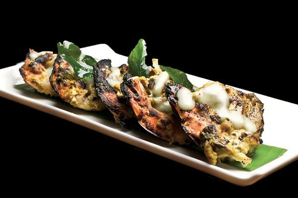 Wasabi curry leaf prawns, Mumbai's F Bar and Lounge