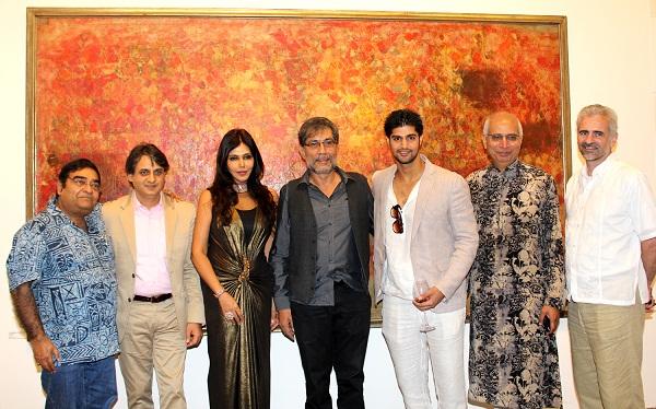 Dr Mukesh Batra, Ashish Anand, Nisha JamVwal, Actors Denzil Smith, Tanuj Virvani, Kishore Singh, Consul Gen Richard Bale at the launch of Indian Abstracts at Delhi Art Gallery, Mumbai
