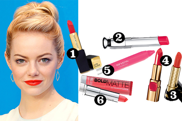 emma stone coral lip colour get the look celebrity