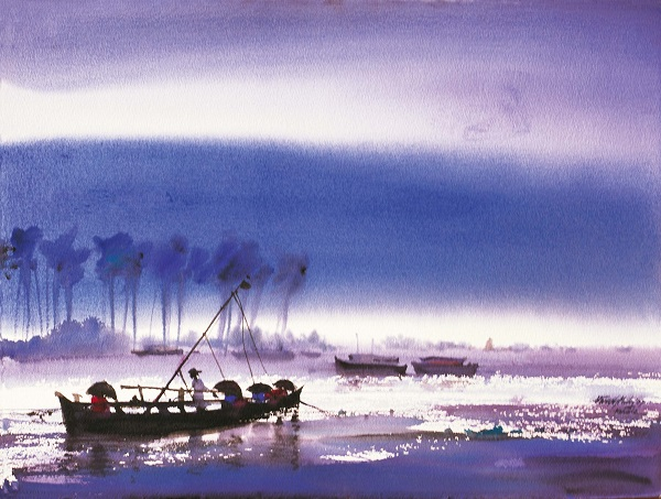 Painting by Paresh Maity from the series An Enchanting Journey in Kerala