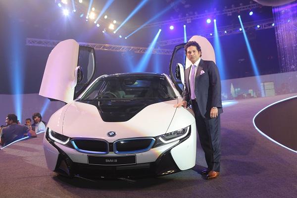 Sachin Tendulkar at the launch of the BMW i8 in Mumbai
